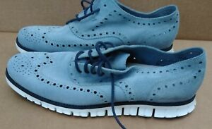 Cole Haan Zerogrand Round Toe Cadet Blue Suede Summer Brogue Wingtip Oxford 10 W