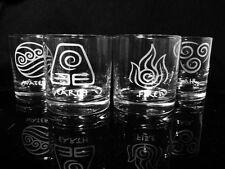 Avatar Inspired Element Symbols Rock Glasses- Legend of Korra - Set of 4-
