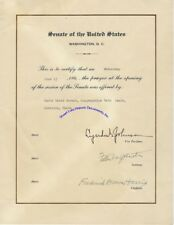 Lyndon Johnson certificate for rabbi who gave Senate opening prayer in 1962