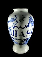 "Vintage Ceramic Diascord Flower Vase Made In Portugal Blue & White 10"" Tall"