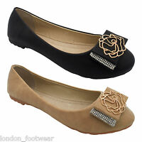 Womens Ladies Bow Dolly Ballet Pumps Flat Diamante Rose Ballerina Size Shoes UK