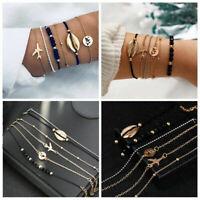 6Pcs Boho Shell Airplane Beads Hollow Map Gold Silver Bracelets Bangle Jewelry