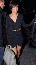 TOPSHOP Iconic Black Moss Crepe Drape Wrap Mini Dress Celeb Vtg 10 6 38 S