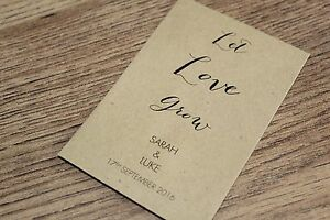 Personalised Seed Packets Envelopes Wedding Favours Let Love Grow Calligraphy