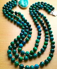 "FABULOUS Chrysocola Necklace, with Imperial Jasper clasp, 3 rows, 18"" long"