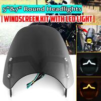 "Universal 5-7"" Black Round Headlight Front Fairing Windshield Windscree"