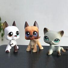 3pcs Rare Littlest Pet Shop LPS Toy Short Hair Cat #391 #577 #244 Great Dane Dog