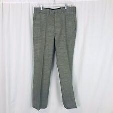vintage Men's Houndstooth 100% Wool Flat Front Pants Slacks 34X30