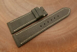 22mm/20mm Moss Green Genuine EPSOM CALF Leather Watch Strap Band