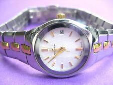 BULOVA ACCUTRON SWISS MADE 28M11 LADIES WATCH CASUAL S/S & G/P WHITE DIAL ANALOG