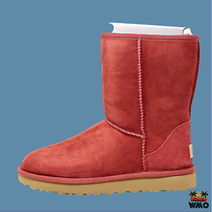 SZ-6-UGG CLASSIC SHORT II Sheepskin Real Fur Suede Leather Boot Timeless Red WMO