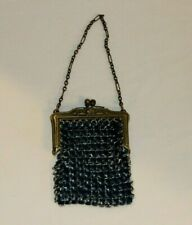 Antique Small Cobalt Blue Mesh Doll Purse For Bisque Doll