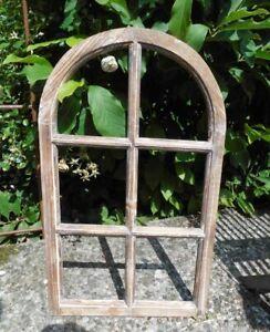 Fenster Sprossenfenster Bilderrahmen halbrund Wanddeko Holz braun 70cm inkl. VK.