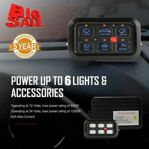 6 Gang 12V/24V On-Off Control Switch Panel  For Car Truck Boat Marine Universal