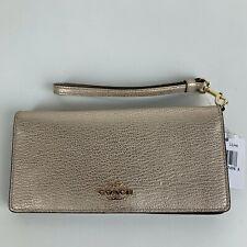 New Coach Platinum Gold Leather Wristlet Wallet 53717