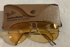Vintage Ray Ban Usa AmberMatic All Weather Sunglasses Retro Gold Original Case