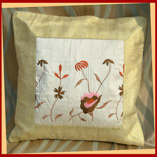 White silk cloth flower pattern embroidered brocade border pillow cover India