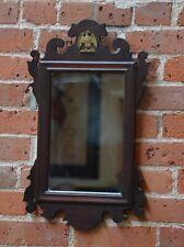 Early American 20� x 12� Federal Mahogany Mirror w Solid Brass Eagle
