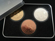 Bitcoin medaillien set 3 x 1 Oz 999 cobre + plata & Gold tirada en noble Box