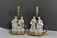 Pair Vintage Gilded Porcelain Courting Couples Holding Lambs Table Boudoir Lamps