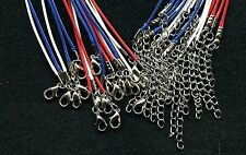 "Lot of (18) 18"" (Patriotic Red/White/Blue) Nylon Waxed Cord Necklace"