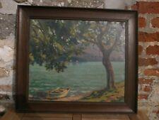 tableau huile sur toile vue du lac d ' annecy signé achille bron