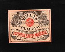 VINTAGE Matchbox Label DEEP RICH COLOR 3.5x2.5 Size Vulcan Tidaholm Sweden B1