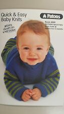 Patons Pattern Book #6000 Quick & Easy Baby Knits 0 to 12 months 4 & 8 Ply
