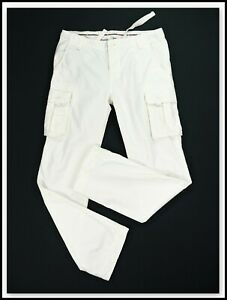 SCOTCH & SODA Straight Leg Heavyweight White Cargo Pants Trousers w/ Pockets