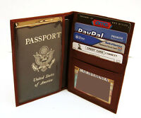 Brown USA Patent Leather Passport Cover Travel ID Card Bifold Wallet New