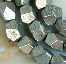 """6x7mm Faceted Natural Iron Pyrite Gemstone Nugget Spacer Loose Beads 15.5"""""""