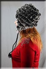 New Grey Knit Rabbit Fur Trooper Hat - One Size Fits All