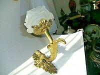 Zauberhafte Jugendstil Wandlampe Messing  Feuerverg. Glasschirm in Blütenform