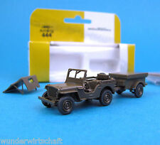 Minitanks H0 444 WILLYS JEEP + ANHÄNGER US Army WWII OVP HO 1:87 Roco Herpa