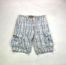Nautica Cargo Drawstring Mens Size 34 White Plaid Shorts