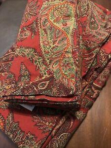 Pottery Barn Tablecloth & Napkins Red Paisley 58 X 98 & 6 Napkins