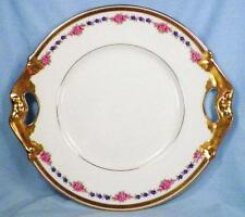 Bernardaud Limoges Cake Plate Vintage B & Co Porcelain Pink Blue Flowers Gold