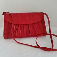 Vintage 1980's J. Rennee RED Snakeskin Leather Clutch + Cross Body Purse