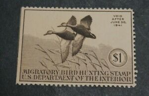 1940 US S#RW7 $1.00 Black Mallards Mint No Gum