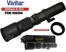 VIVITAR 500mm f/8.0 Telephoto Lens FOR NIKON D3S D3X D40 D40X D60 D70 D80 D90