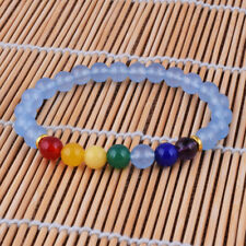 7 Chakras 8mm Natural Blue Chalcedony&Agate Beaded Stretch Bracelet Bangle Gift