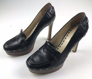 Enzo Angiolini Women's Black Embellished Heels Wood Grain Sole Size US 8.5