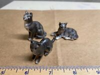 Three Piece Miniature Bone China Figurines Japan Cats