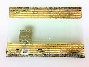 NEW 3D GLASSWARE ANTIQUE GOLD+BLACK TONE,CLEAR GLASS SERVING DISH,PLATE,PLATTER