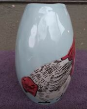 West Elm Vase Hen Chicken Bird Blue Glaze 7.5 In MINT COND