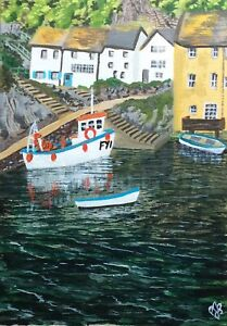 Original painting of Polperro, Cornwall In acrylic on stretched canvas