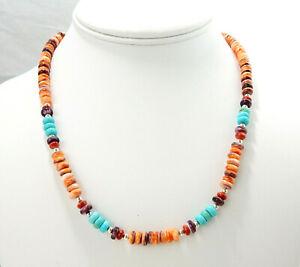"18"" Santo Domingo Orange Red Purple Spiny Oyster Heishi Necklace NOS"