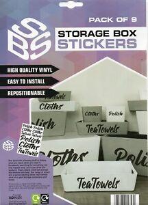 STORAGE BOX STICKERS - CLOTHS/POLISH/TEA TOWELS - FREE UK POSTAGE