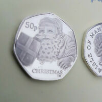 50p Coin 2011 Isle of man Christmas silver plated proof finish multi list coins