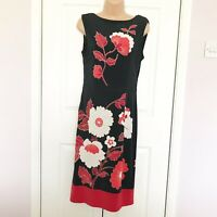 Phase Eight Oriental Floral Dress Silky Jersey Shift Occasion Black & Red UK 12